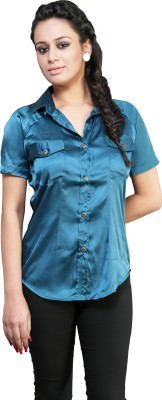 Schwof Women's Solid Party Blue Shirt
