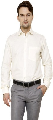 Lemon & Vodka Men's Solid Formal Linen White Shirt