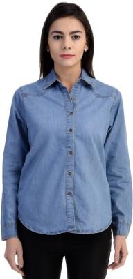 Shopping Hutz Women's Solid Casual Denim Light Blue Shirt