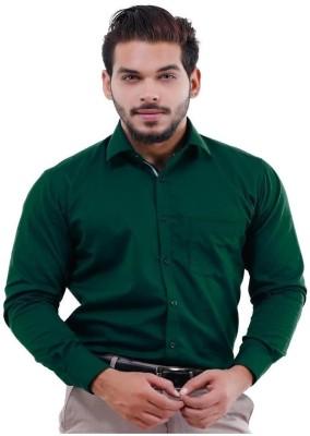 La MODE Men's Solid Casual Green Shirt