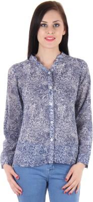 BONHEUR Women's Floral Print Casual Blue, Blue Shirt