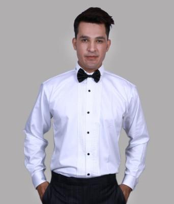 Alark The Ethnic Men,s Self Design Casual White Shirt