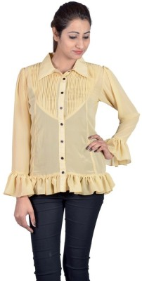 Indicot Women's Solid Casual Brown Shirt