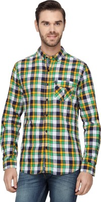 Etranger Men,s Checkered Casual Green, Yellow Shirt