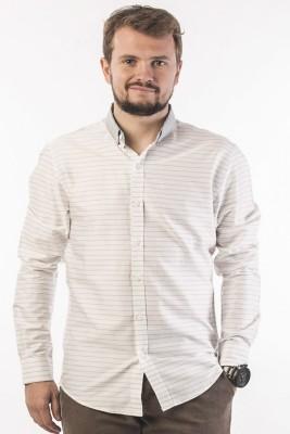 Srota Men's Striped Casual White Shirt