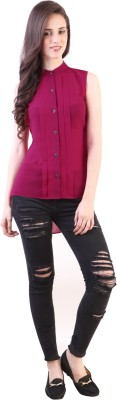 Vvine Women's Solid Party Pink Shirt