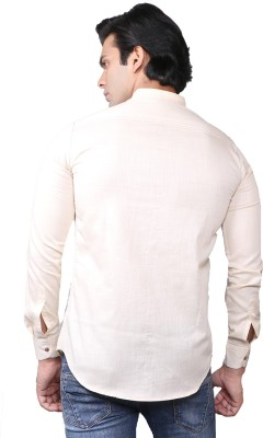 ROYALTY MILAN Men's Solid Casual White Shirt