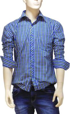 EXIN Fashion Men's Checkered Formal Blue, Yellow Shirt