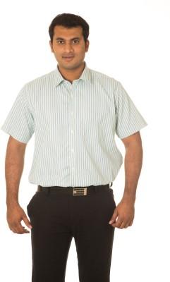 Nova Scottia Men's Striped Formal Green Shirt
