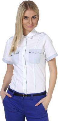 Dazzio Womens Solid Formal White, Light Blue Shirt