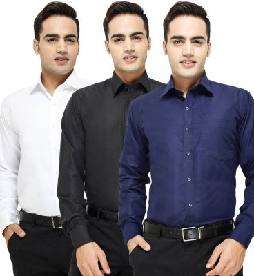 VKG Men's Solid Formal Multicolor Shirt(Pack of 3)