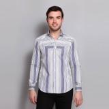 Colormode Men's Striped Formal White, Bl...