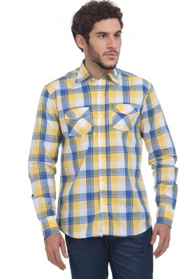 Fash-A-Holic Men,s Checkered Casual Yellow Shirt