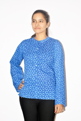 Chitrali Women's Printed Casual, Formal Blue Shirt