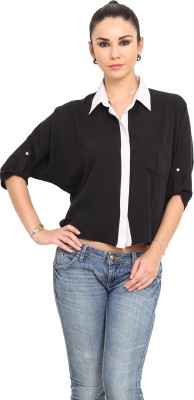 MSMB Women's Solid Casual Black, White Shirt