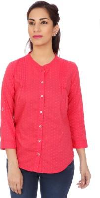 Clodentity Women,s Self Design Formal Red Shirt