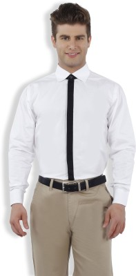 Nick & Jess Men's Solid Casual White Shirt