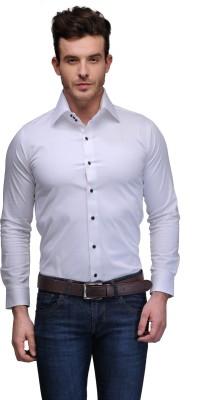 Edjoe Men's Solid Casual White Shirt