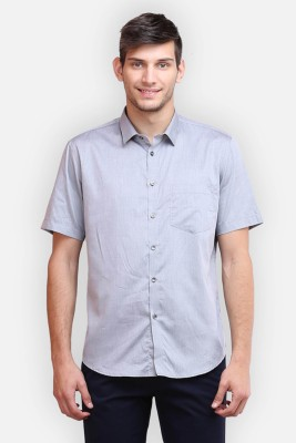 four one oh Men's Self Design Formal Grey Shirt