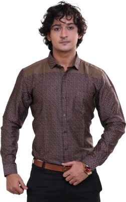 Royal Front Men's Solid Formal, Casual, Party, Festive, Wedding Brown Shirt
