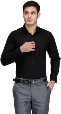 Harvest Men's Solid Formal Black Shirt