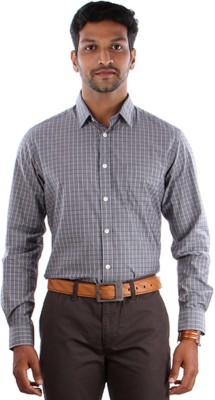 Indian Terrain Men's Checkered, Striped Casual Grey, White Shirt