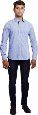 Verve Men's Solid Casual Blue, White Shirt