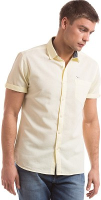 Flying Machine Men's Solid Casual Yellow Shirt