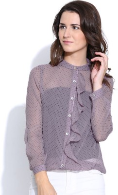 Colors Couture Women's Printed Casual Purple Shirt