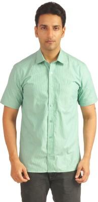 Sterling Men's Striped Formal Light Green Shirt