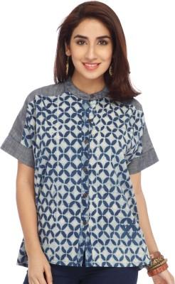 Enah Women's Solid Casual Blue Shirt