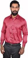 Urban Grandeur Formal Shirts (Men's) - Urban Grandeur Men's Striped Formal Red Shirt