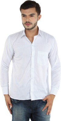 FDS Men,s Self Design Casual White, Blue Shirt