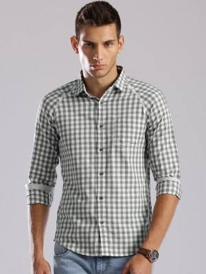 HRX by Hrithik Roshan Men's Checkered Casual White Shirt