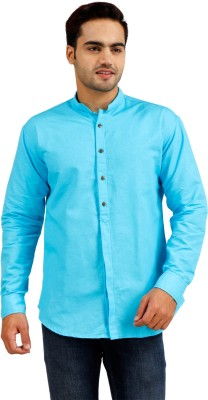 Butter Sense Men's Solid Casual Light Blue Shirt