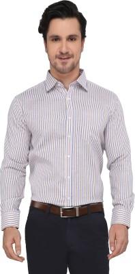 Devaa Men's Striped Casual Yellow, Blue Shirt