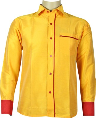 KENRICH Men's Solid Formal Yellow Shirt