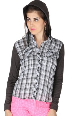 La Vida Women's Checkered Casual White, Grey Shirt