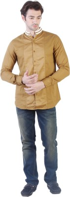 Yellow Tree Men's Solid Casual Brown Shirt