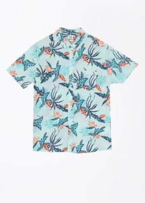 Quiksilver Men's Printed Casual Blue, Orange Shirt