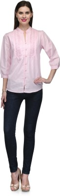Glamdiva Women's Solid Casual Linen Pink Shirt