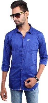 Beyond Imagination Men's Solid Casual Blue Shirt