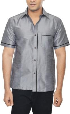 KENRICH Men's Solid Wedding, Party, Festive Grey Shirt