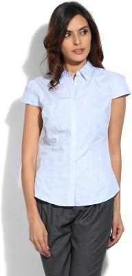 Vanheusen Womens Solid Formal Blue Shirt
