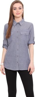 Porsorte Women's Solid Casual Blue Shirt