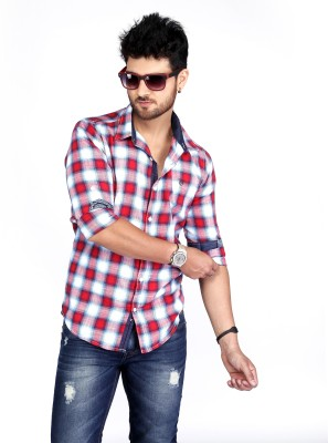 Nostrum Jeans Men's Checkered Casual Red Shirt