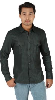 TomBerry Men's Self Design Casual Green Shirt