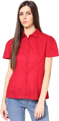SHIBORI Women's Solid Casual Red Shirt