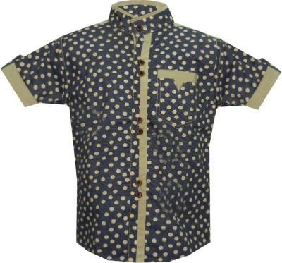 JBN Creation Boy's Polka Print Casual Blue, Brown Shirt