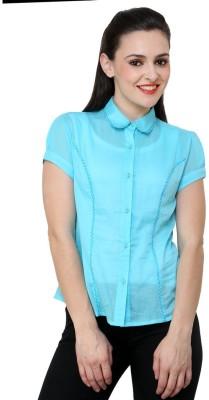 Aardee Women's Solid Casual Light Blue Shirt